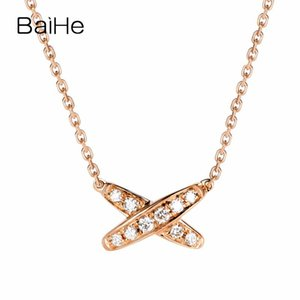 Baihe sólidos 18K Rose 0.10ct H / Diamonds SI Natural Mulheres Trendy Fine Jewelry diamante elegante presente X-shaped colares