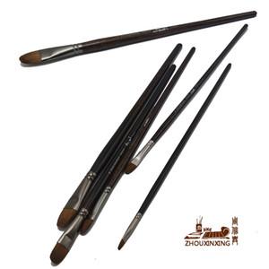 Zhouxinxing 6pcs / set, beach de haute qualité brosse cheveux acrylique nature peinture brosse de brosse pointe pinceau en bois dessin art Supply 201226