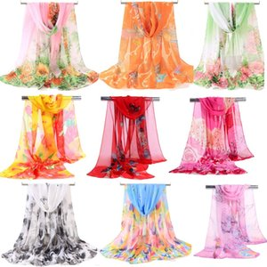 40 Arten 160x50cm Neue Damenmode Georgette Lange Wrap Schal Strand Chiffon Seide Schal Schals Mode Accessoires
