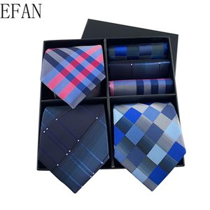 Classic 8cm 3Sets High-quality Mens Ties Gravatas Tie + Handkerchief Set Ties for Men Striped Plaid Neties Gift Box
