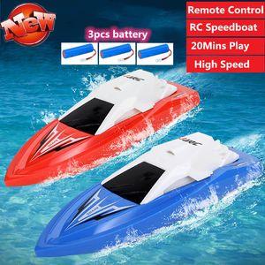 Alta velocità di telecomando RC di corsa barca con 3pcs doppio di alta qualità motore a batteria barca a velocità di RC barca giocattolo 2.4G durevole RC Barche