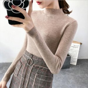 Autumn Women Knitted Turtleneck Sweater 2019 Fall Casual Slim Sweaters Pullover Womens Long Sleeve Elasticity Sweater Base Shirt