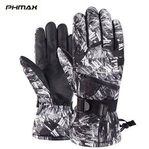 PHMAX Warm Ski Winter Thermal Snowboard Men Women Waterproof Heated Anti-Slip Touch Screen Skiing Gloves 201104