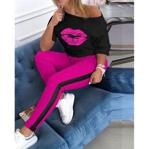 Lip Prined Women Tracksuit Sets 2 Piece Outifits Short Sleeve Off Shoulder Tee Top + Pants suit Casual Female Sweatsuit Set 201012