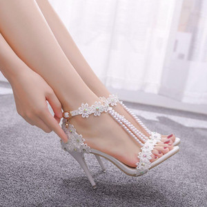 Crystal Queen Women Sandals White Lace Flowers Pearl Tassel Bridal 9cm Heel Fine High Heels Slender Bridal Pumps Wedding Shoes 201007
