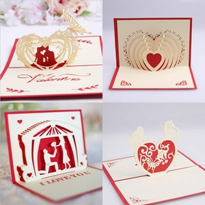 3D Valentines Day Greeting Card Pop-up Card Valentines Day Gifts Confession Greeting Card 15*10cm Wedding Supplies GWD4242