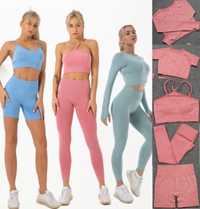 Autunm winter Fashion Designer Womens Yoga Suit Gym shark Sportwear Tracksuits Fitness pant Sports set 5PCS bra shirts Leggings flame outfit