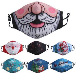 Tasarımcı yüz maskesi Noel Santa sakal Kardan Adam şanslı Geyik fahion yüz maskeleri yetişkin erkek kız 3D Baskı toz geçirmez toptan facemask