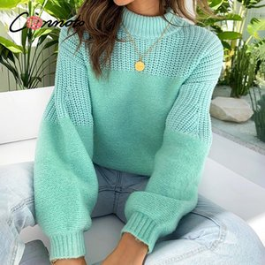 Conmoto Solid color stitching loose woman sweaters Pullover drop shoulder sleeve knitted sweater Street winter sweater clothing 201016