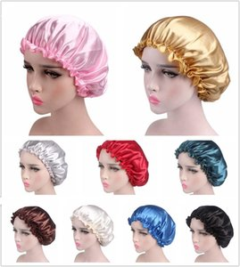 Saç bakımı için Turban Hat Headwrap Bonnet Kadınlar Kafa Kapağı Sleeping ucuz İpek Saten Uyku Cap Düz renk Nefes Bandana Gece