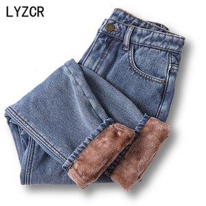 Lyzcr Hiver Femme 2020 Vintage velours chaud Harem Toison maman lâche taille haute Femmes Boyfriend Jeans pour les femmes