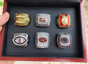 6 unids Georgia Bulldog S Sec Nationals Team Champions Ring con la caja de madera Set Souvenir NCAA Men Fan Gift Gobile Envío