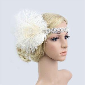Frauen-Pfau-Feder-Stirnband-Kopfschmuck mit Pailletten Strass Haarband Partei-Kopf-Verpackungs-Haar-Zusätze Maskerade 200928