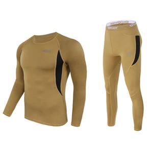 Winter Mens Thermal Underwear Suit Fleece Warm Breathable Sport Underwear Suits Men Army High Elastic Quick Drying Set AJ152 201009