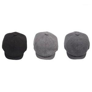 Erkekler Caps Şapkalar için Sekizgen Cap Newsboy Bere Şapka Sonbahar Kış1