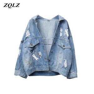 Zqlz Plus Size 5xL Autunno Giacca Denim Donne 2020 Nuovo ricamo Pattern Risvolto Jeans Allentato Cappotto Giacche sottili primavera Womens