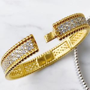 Mulheres Cristal Bangle Jóias 18k Cor de Ouro Lucky Sparkling Três Fileiras de Diamond Bangle Braceletes Dia dos Namorados Jóias Presente
