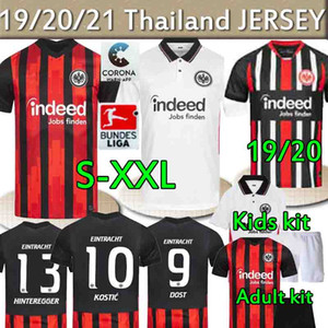 Thaïlande Eintracht Frankfurt Soccer Jersey 20 21 Dost Ndicka André Silva Kostic Shirts Football Adulte Hommes Kit enfants Camisata de Frankfurt
