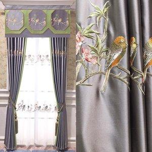 Nouveau Chinois Style Classique Zen Light Prestige Imitation Silk Salon Chambre à coucher Brodée Rideaux Sans Rideau Blackout