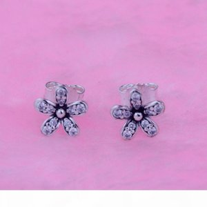 Silver Daisy Earring Stud with Clear Cz fits for pandora jewelry 925 sterling silver earrings for women diy fashion Christmas gift 1pair lot