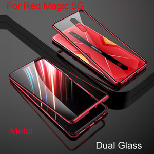 Magnetic Adsorption Fip For Nubia Red Magic 5G NX659J Metal Frame Doubl Tempered Glass Cover Protective Phone Case RedMagic