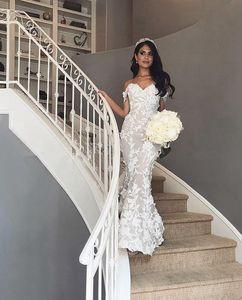 2021 Mermaid Wedding Dresses Cathedral Train Off Shoulder Lace Floral Castle Arabic Dubai Church Wedding Dress Bridal Gowns Robe