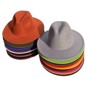Зимняя мода Hat Fedora Gentle Man Классический теплый Широкий Брим Нет Пояс Войлок Шляпа Hombre Урожай леди Модные Hat