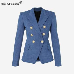 HarleyFashion New Arrial Women Eleagnt Casual Slim Jacket Solid Metal Buttons Blue Quality Runway Blazer