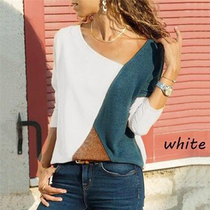 Plus size Women O-Neck Long Sleeves shirt lady Splicing Color Collision Easy Tops Blouse spring autumn Patchwork Blouse #XS