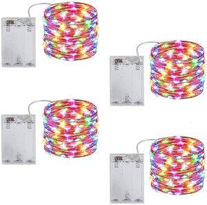 2m 3m 5m 10m Leds Starry String Battery Lights Fairy Micro Led Transparent Copper Wire for Party Christmas Wedding 9 Colors