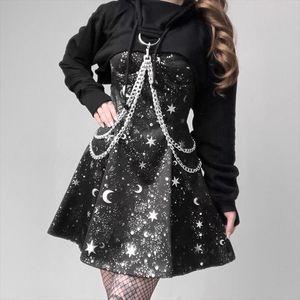 Gothic Dark Print Elegant Dress Goth Pleated Spaghetti Strap Black Dresses Iron Hoodie Long Sleeve Tops Punk 2 Piece Sets