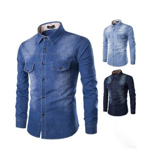 Denim Shirt With Causal Poket Fashion Jeans Men's Pus Size Tops Long Sleeve 100% Cotton Casual Shirts