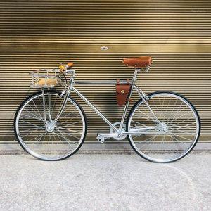 Vintage Biy Frame Sliver 700C Gear Gear Biycle Biycle Single Speed 52cm Fixie Frame InlCude Basket1