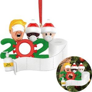 Trump Ornament DIY Grüße 2020 Quarantine Weihnachts-Geburtstags-Party-Pandemie Social Distanzierung Weihnachtsbaum Anhänger Zubehör