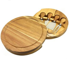 Wooden Handle Cheese Knives Board Set Cheese Knife Slicer Fork Scoop Cutter Useful Cooking Tools With Wood Cutting Board SN2245
