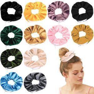 Scrunchies Hair Velvet Haar Scrunchies Dickdarm- elastisches Haar-Band Reißverschluss-Tasche Wallet Armband Geldbörse Schlüsselhalter DHF2529