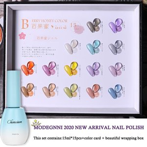 MODENGNI Clear Yellow Purple Pernaent Gel Nail Polish Set Hybrid Varnishes 15Pcs Base Top UV LED Lamp Gel For Nail Salon