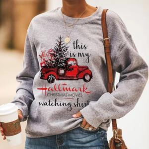 Este é o meu modelo de Natal assistindo camisa camisa com capuz mulheres manga comprida moletom de grandes dimensões xmas streetwear cópia casual tops lj201103