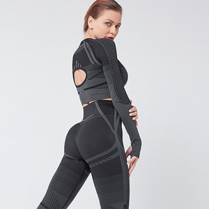 CHRLEISURE Sports Suit Back Hollow Long Sleeve Yoga Set Elasticity Tight Stripe Tracksuit Women Push Up Gym Fitness Clothing