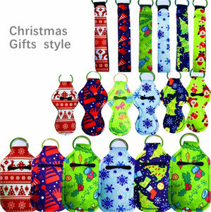 10PCS LOT Neoprene Key Chain Holder Lanyards Lipstick Case Bag Hand Sanitizer Bottle Cover Christmas Diving Material Ornaments Gifts E102401