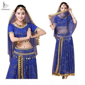 Bollywood Belly Dance Costume Set Dance Sari Bellydance Skirt Suit Women Chiffon 5pcs (Headpieces Veil Top Belt Skirt)