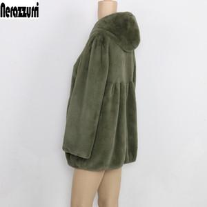 Nerazzurri 가을 Pleated Furry 가짜 모피 코트 여성용 후드 하이 허리 블랙 레드 핑크 플러스 크기 따뜻한 솜털 재킷 5XL 6XL 7XL 201111