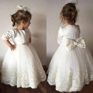 Cheap Flower Girl Dresses White Cute Lace Princess Girls Pageant Gowns Jewel 3 4 Long sleeve bow Tulle Tired Skirts Communion Dresses