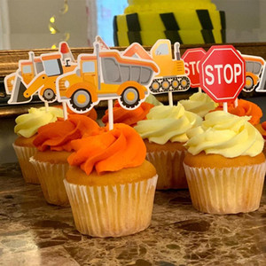 Birthday Construction Party Cupcake Toppers and Wrappers Tractor Excavator Cake Topper Dump Truck Theme Party Cake Decoration
