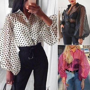 Women Polka Dot See through Blouses Ladies Sheer Long Lantern Sleeve Tops Sexy Transparent Shirts Loose Blouse Cover Up Blusas