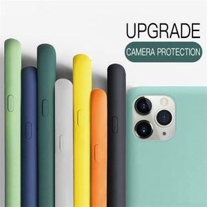 Coque iPhone 12 Pro Max Téléphone Cas de téléphone liquide Case de silicone pour couverture iPhone 11 Pro Max x XS XR 8 Samsung S21 S20 Note 20 Protection de la caméra