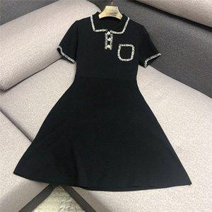 Luxus-Designermarken Strickkleid für Frauen beiläufige Puppe-Kragen-Quasten Hinter aushöhlen Hepburn Strickkleid Schwarz 9aS1 #