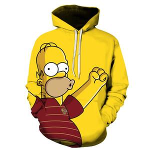 3D Cartoon printing Hoodies Cute Homer Simpson And his Son Anime Hoodie Series Men   Women Autumn and Winter Sweatshirt Hoodies 201113