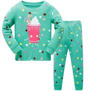 Çocuk Süper Baykuş Sıcak Pamuk Giyim Suit Bebek Kız Geyik Pijama T-Shirt Şerit Pantolon 2 adet Çocuk Pijama Set 201028