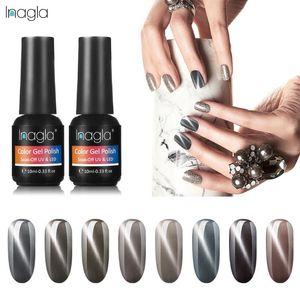 Inagla 10ML Grey Cat Eye Gel Nail Polish 3D Magnetic 12 Colors Varnish DIY Tools Magnet Nail Art Lacquer Base Top Coat Needed